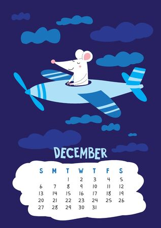 December. Vector calendar page with cute rat pilot flying in plane - Chinese symbol of 2020 year. Illustration