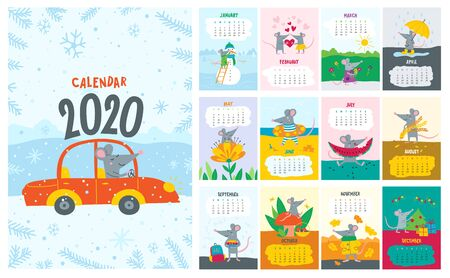 Vector colorful monthly calendar with a cute rat - a symbol of the 2020 year according to Chinese calendar. Editable template A5, A4, A3 size, can be printed and used as a desk, table or wall calendar for your schedule and plans. With holiday illustrations