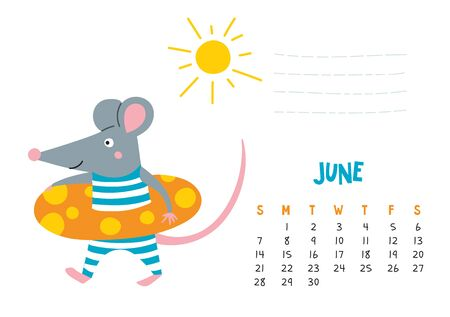 June. Vector calendar page with cute rat at beach - Chinese symbol of 2020 year. Illustration