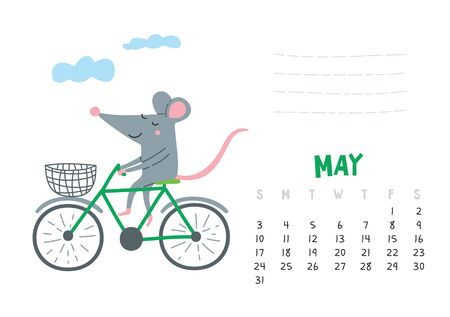 May. Vector calendar page with cute rat in travel - Chinese symbol of 2020 year.