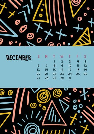 December. Vector colorful monthly calendar for 2020 year with abstract marker doodle.