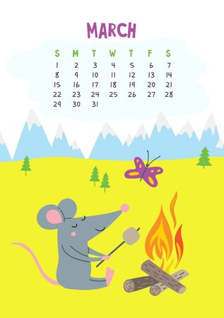 March. Vector calendar page with cute rat in camping - Chinese symbol of 2020 year.