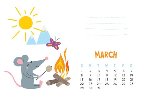 March. Vector calendar page with cute rat in travel - Chinese symbol of 2020 year.