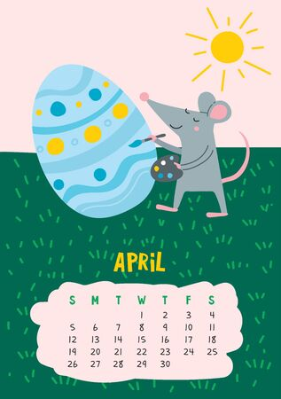April. Vector calendar page with cute rat decorate easter egg - Chinese symbol of 2020 year. Editable template A5, A4, A3 size, can be printed and used as a desk, table, wall calendar for schedule and plans