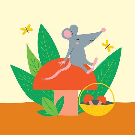 Vector illustration of cute rat sit on autumn mushroom.