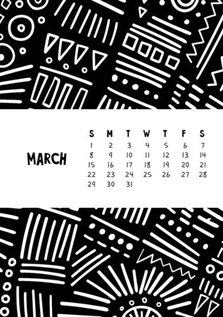 March. Vector colorful monthly calendar for 2020 year with abstract marker doodle. Illustration