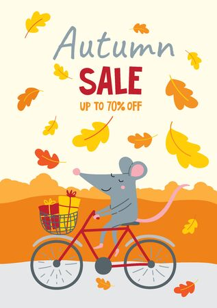 Vector illustration decorated with autumn oak leaves with cute rat and discount text.
