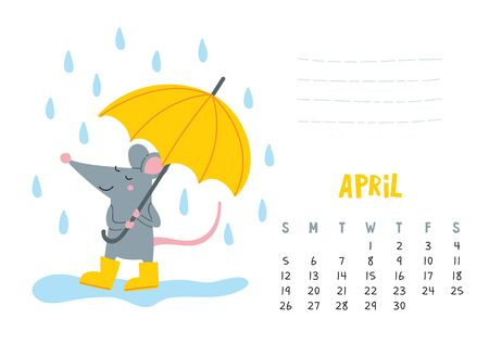 April. Vector calendar page with cute rat with umbrella under rain - Chinese symbol of 2020 year.