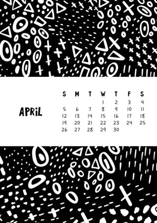 April. Vector colorful monthly calendar for 2020 year with abstract marker doodle.
