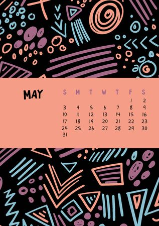 May. Vector colorful monthly calendar for 2020 year with abstract marker doodle. Illustration