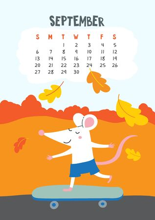 September. Vector calendar page with cute rat boy with skateboard - Chinese symbol of 2020 year.