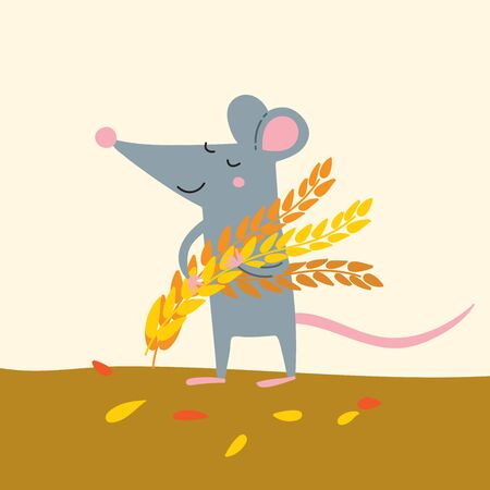 Vector illustration of cute rat with wheat grains harvest.