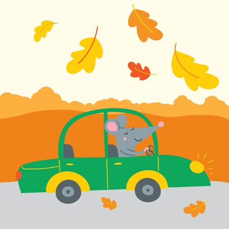 Vector illustration of cute rat traveling by car for autumn weekend, sale in shop, Thanksgiving holiday.. Can be used as a template for calendar, card, banner, invitation, children book, apparel. Illustration