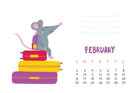 February. Vector calendar page with cute rat in travel - Chinese symbol of 2020 year.