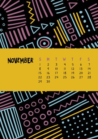 November. Vector colorful monthly calendar for 2020 year with abstract marker doodle. Editable template A5, A4, A3 size, can be printed and used as a desk, table or wall calender for your schedule and plans.