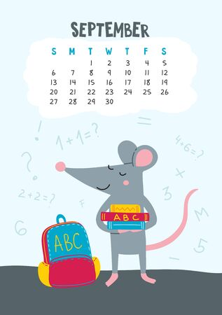September. Vector calendar page with cute rat back to school - Chinese symbol of 2020 year. Illustration