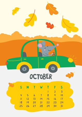 October. Vector calendar page with cute rat in travel - Chinese symbol of 2020 year. Illustration