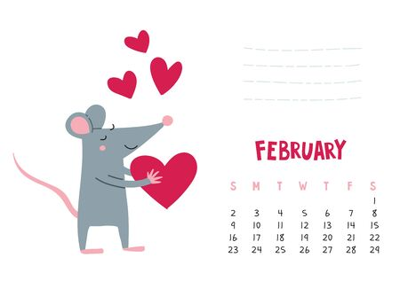 February. Vector calendar page with cute rat with heart - Chinese symbol of 2020 year.