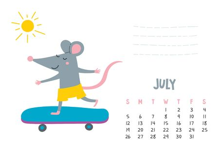 July. Vector calendar page with cute rat in travel - Chinese symbol of 2020 year.