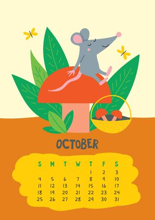 October. Vector calendar page with cute rat with mushroom - Chinese symbol of 2020 year. Editable template A5, A4, A3 size, can be printed and used as a desk, table, wall calender for schedule and plans
