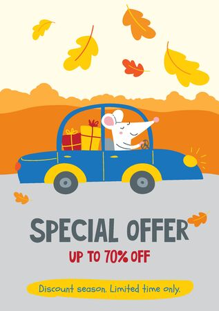 Vector illustration decorated with autumn oak leaves with cute rat and discount text. Can be used as template for web banner, shopping promo poster, leaflet, card.