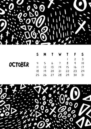 October. Vector colorful monthly calendar for 2020 year with abstract marker doodle. Editable template A5, A4, A3 size, can be printed and used as a desk, table or wall calender for your schedule and plans.