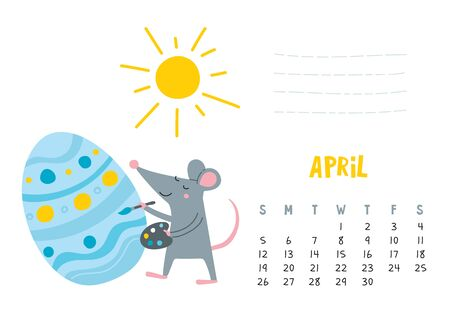 April. Vector calendar page with cute rat decorate easter egg - Chinese symbol of 2020 year. Editable template A5, A4, A3 size, can be printed and used as a desk, table, wall calender for schedule and plans