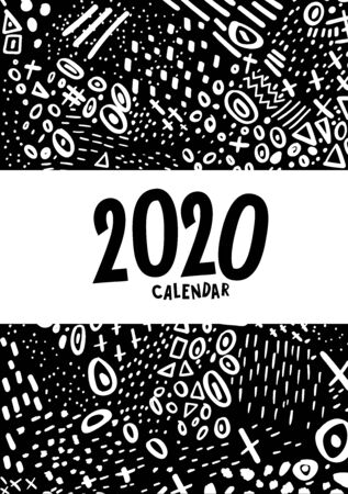 Cover. Vector colorful monthly calendar for 2020 year with abstract marker doodle. Editable template A5, A4, A3 size, can be printed and used as a desk, table or wall calender for your schedule and plans.