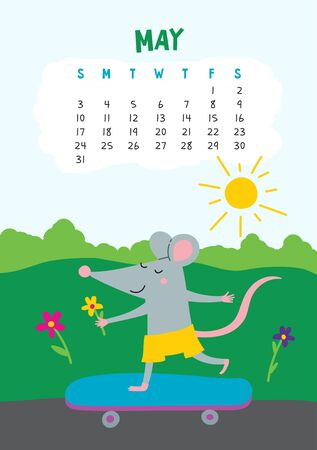 May. Vector calendar page with cute rat in travel - Chinese symbol of 2020 year. Editable template A5, A4, A3 size, can be printed and used as a desk, table, wall calender for schedule and plans