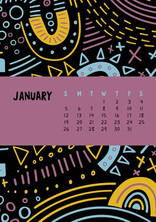 January. Vector colorful monthly calendar for 2020 year with abstract marker doodle. Editable template A5, A4, A3 size, can be printed and used as a desk, table or wall calender for your schedule and plans. Illustration