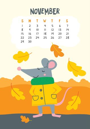 November. Vector calendar page with cute rat in yellow coat - Chinese symbol of 2020 year. Editable template A5, A4, A3 size, can be printed and used as a desk, table, wall calender for schedule and plans