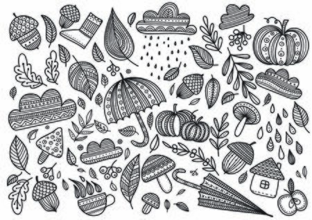 Lovely autumn concept childish vector coloring page with leaves, cloud, acorn, umbrella, mushrooms, pumpkin. Can be printed and used as coloring page