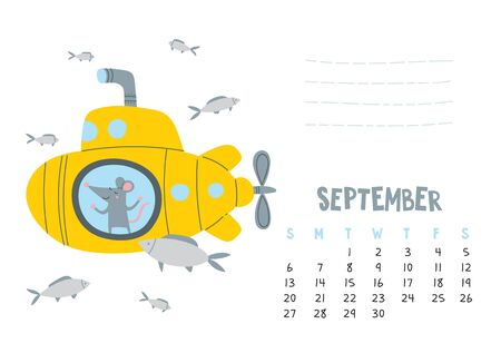 September. Vector calendar page with cute rat in travel - Chinese symbol of 2020 year. Editable template A5, A4, A3 size, can be printed and used as a desk, table, wall calender for schedule and plans Ilustrace