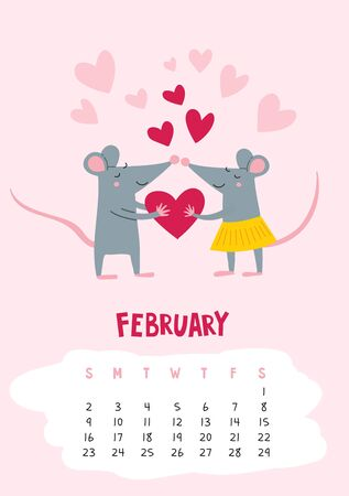 February. Vector calendar page with cute rat with heart - Chinese symbol of 2020 year. Editable template A5, A4, A3 size, can be printed and used as a desk, table, wall calender for schedule and plans