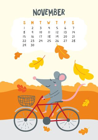 November. Vector calendar page with cute rat riding bicycle - Chinese symbol of 2020 year. Editable template A5, A4, A3 size, can be printed and used as a desk, table, wall calender for schedule and plans Ilustrace