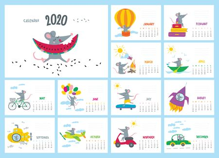 Vector colorful monthly calendar with a cute traveler rat in adventure - a symbol of the 2020 year according to Chinese calendar. Editable template A5, A4, A3 size, can be printed and used as a desk, table or wall calender for your schedule and plans. Ilustrace