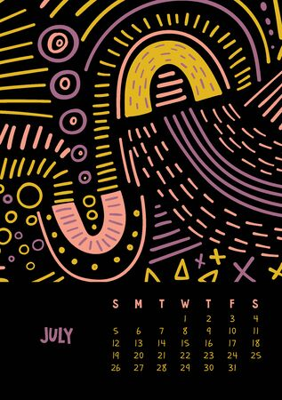 July. Vector colorful monthly calendar for 2020 year with abstract marker doodle. Editable template A5, A4, A3 size, can be printed and used as a desk, table or wall calender for your schedule and plans. Illustration