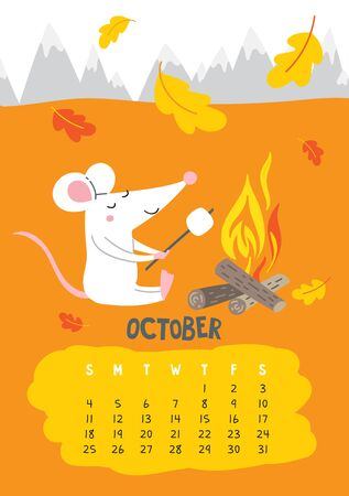 October. Vector calendar page with cute rat with marshmallow - Chinese symbol of 2020 year. Editable template A5, A4, A3 size, can be printed and used as a desk, table, wall calender for schedule and plans
