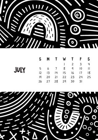 July. Vector colorful monthly calendar for 2020 year with abstract marker doodle. Editable template A5, A4, A3 size, can be printed and used as a desk, table or wall calender for your schedule and plans. Ilustrace