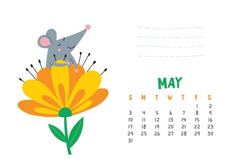May. Vector calendar page with cute rat in blooming flower - Chinese symbol of 2020 year. Editable template A5, A4, A3 size, can be printed and used as a desk, table, wall calender for schedule and plans