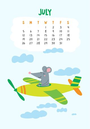 July. Vector calendar page with cute rat in travel - Chinese symbol of 2020 year. Editable template A5, A4, A3 size, can be printed and used as a desk, table, wall calender for schedule and plans Ilustrace