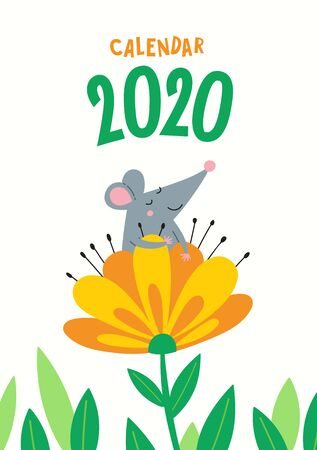 Vector cover for calendar with a cute rat - a Chinese symbol of the 2020 year. Illustration