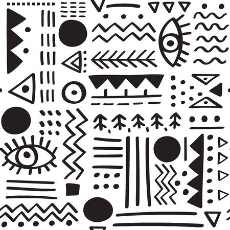 Abstract ethnic tribal vector seamless pattern. Can be printed and used as wrapping paper, wallpaper, textile, fabric, etc.