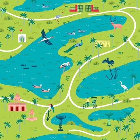 Illustration of Bharatpur Bird Sanctuary landscape map with lot of wetland birds. Seamless pattern can be printed and used as wrapping paper, wallpaper, textile, fabric, etc.