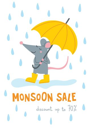 Vector monsoon sale banner with cute rat in yellow rubber boots with umbrella illustration. Can be used as a template for your banner design, card, poster, placard, advertising. Vektorové ilustrace