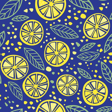 Citrus lemon with leaves colorful seamless pattern. Can be printed and used as wrapping paper, wallpaper, textile, fabric, apparel, etc. 向量圖像