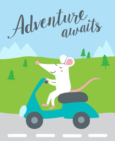 Adventure awaits. Vector illustration of cute rat riding blue Vespa bike. Can be used as a template for your design, children's book, sticker, print, apparel, card, poster, banner, editorial post. Vectores