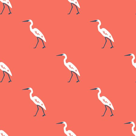 White heron seamless pattern with pink background. Can be printed and used as wrapping paper, wallpaper, textile, fabric, apparel, etc.  イラスト・ベクター素材