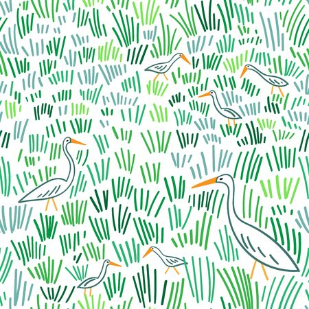 Heron walking at wetland seamless pattern. Can be printed and used as wrapping paper, wallpaper, textile, fabric, apparel, cloth, etc.
