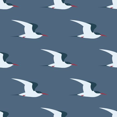 Flying Arctic tern seamless pattern. Can be printed and used as wrapping paper, wallpaper, textile, fabric, apparel, cloth, etc. Иллюстрация
